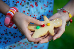 Woman with cookies  man Royalty Free Stock Photo