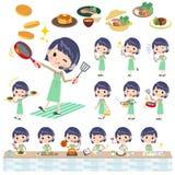 woman_cooking的电话中心 皇族释放例证