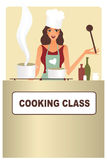 Woman cooking. Attractive woman preparing food in a cooking class Royalty Free Stock Image