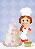 Woman cooking cake royalty free illustration