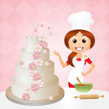 Woman cooking cake Stock Photo