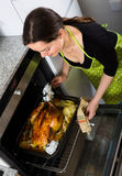 Woman cooking capon in baking tray Stock Photo