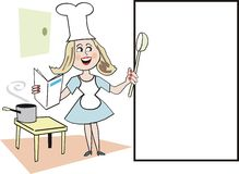 Woman cooking cartoon Stock Image