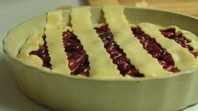 Woman cooking cherry pie recipe set stock footage