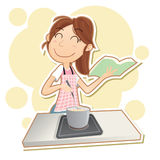 Woman cooking with cookbook. Cartoon smiling woman cooking  at stove with cookbook Stock Photos