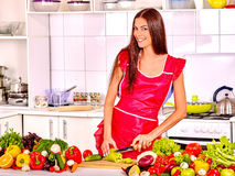 Woman cooking  detox dinner at kitchen Stock Photography