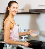 Woman cooking egg souffle Royalty Free Stock Photography