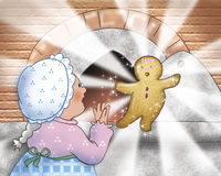 Woman cooking a Gingerbread boy. An elderly amusing woman is cooking a magic Gingerbread boy in her wood-burning oven. Digital illustration for the Gingerbread vector illustration