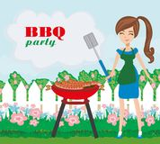 Woman cooking on a grill - invitation to the party. Vector Illustration vector illustration
