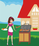 Woman cooking on a grill Stock Images