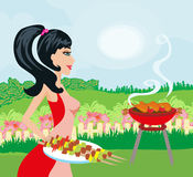 Woman cooking on a grill. Vector Illustration Royalty Free Stock Photo