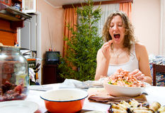 Woman is cooking holiday food Royalty Free Stock Photos