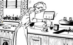 Woman cooking at home Royalty Free Stock Images