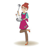 Woman cooking Stock Images