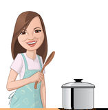 Woman cooking. Illustration on white background of a Woman cooking Royalty Free Stock Photo