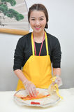 Woman cooking kimchi hand Royalty Free Stock Images