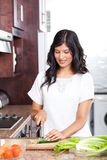 Woman cooking in kitchen Stock Image