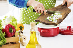 Woman cooking in the kitchen. Woman cooking in the  kitchen Stock Photo