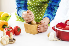 Woman cooking in the kitchen. Woman cooking in the  kitchen Royalty Free Stock Images