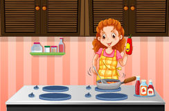 Woman cooking in the kitchen. Illustration Stock Photo