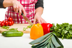 Woman Cooking in the kitchen. Young Woman Cooking in the kitchen. Healthy Food - Vegetable Salad Royalty Free Stock Image