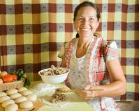 Woman cooking meat pasty Royalty Free Stock Image