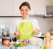 Woman cooking meat with rice Royalty Free Stock Image