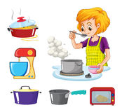Woman cooking and other equipment. Illustration Stock Photography