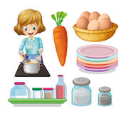 Woman cooking and other ingredients Royalty Free Stock Photos