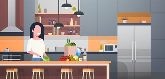 Woman Cooking Salad In Modern Kitchen Room. Flat Vector Illustration Royalty Free Stock Photography