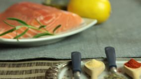 Free Woman Cooking Salmon Fish At Home Set Royalty Free Stock Photo - 130867025