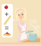 Woman cooking spaghetti Stock Image