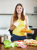 Woman cooking spanish sandwiches  - bocadillo Royalty Free Stock Photography