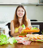 Woman cooking spanish sandwiches Stock Image
