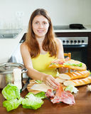 Woman cooking spanish  sandwiches Royalty Free Stock Photo