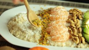 Woman Cooking Vegan Porridge Recipe set stock footage