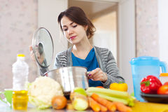 Woman cooking vegetarian lunch Stock Images