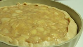 Woman cooking. Preparing apple pie to but in the oven stock video footage