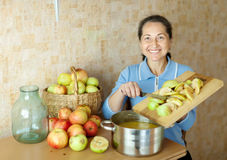 Woman cooks apple jam Stock Images
