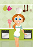 Woman cooks stock illustration