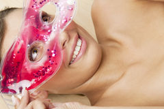Woman with cooling facial mask Royalty Free Stock Photos