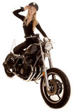 Woman cop motorcycle hand by hat stand Stock Image