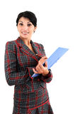 Woman with copyholder Royalty Free Stock Photography