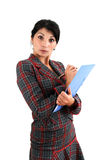 Woman with copyholder Royalty Free Stock Photos