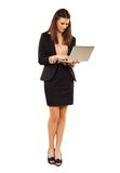 Woman in Copyspace Using Laptop Royalty Free Stock Photos