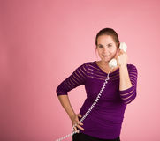 Woman on Corded Phone Stock Photos