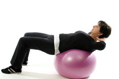 Woman core training fitness ball sit ups Royalty Free Stock Photography