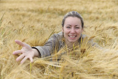 Woman in cornfield Stock Photos