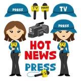 Woman correspondent and icons. Stock Photo
