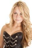 Woman corset blond woman Royalty Free Stock Image